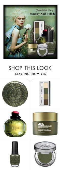 """""""Green With Envy: Wintery Nail Polish"""" by lenochca ❤ liked on Polyvore featuring beauty, RGB, Clinique, Yves Saint Laurent, Origins, OPI, Urban Decay and nailedit"""