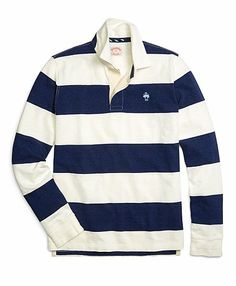 A striped rugby keeps it fun and casual #BBSpring2014 #RedFleece
