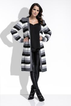 Stay warm this winter with this fabulous striped cardigan! For a more modern look button it up and style it with a belt to emphasize your waist. Oversize fits up to XL. Striped Cardigan, Long Cardigan, Stay Warm, Cardigans, Sweaters, Graphite, Style, Fashion, Tricot