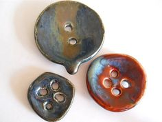 Handmade Porcelain Buttons 3 Unique by earthypurl on Etsy