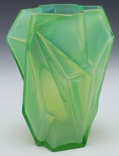 "Consolidated Ruba Rombic vase, designed by Reuben Haley, green glass with overall opalescence,  4.5""w x 6""h"