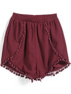 Red Elastic Waist Twisted Ball Embellished Shorts #sheinside #burgund #stylish