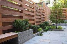concrete and wood modern fence - Google Search
