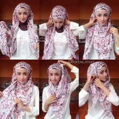 Simple and easy hijab tutorial. Probably works best using a wide rectangular scarf.