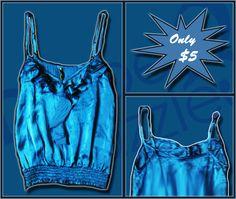 Fresh Love Blue Singlet. Size: 6, ONLY $5. #fashion #shop #sale Follow us!! @DrapeandDazzle Chances to Win!! #spring