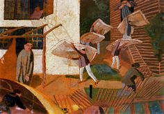 Stanley Spencer - Carrying Mattresses, 1921