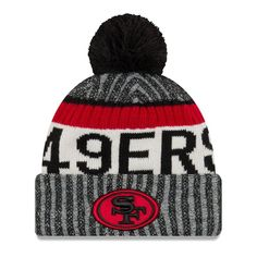 San Francisco 49ers New Era Youth 2017 Sideline Official Sport Knit Hat - Black