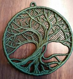 Tree of life,embroidered lace,ornament,patch by VampqueensVault on Etsy Macrame Design, Macrame Art, Macrame Knots, Macrame Jewelry, Macrame Wall Hanging Patterns, Large Macrame Wall Hanging, Macrame Patterns, Window Hanging, Art Macramé