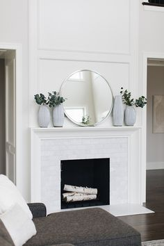 New Exterior Design Furniture Benjamin Moore 44 Ideas White Fireplace, Bedroom Fireplace, Fireplace Remodel, Fireplace Mantle, Fireplace Surrounds, Fireplace Design, Subway Tile Fireplace, Two Story Fireplace, Farmhouse Fireplace