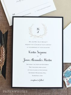 The Erin Rose wedding invitation is a vintage classic with a beautiful wreath taking center stage at the top. The bride and grooms first initials are stacked to make a stunning monogram that can be used throughout the wedding day stationery as well.