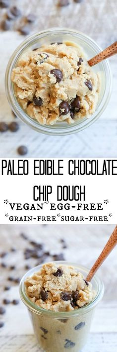 Paleo Chocolate Chip Edible Cookie Dough - vegan, refined sugar-free, paleo, gluten free, grain free, and healthy dessert recipe!