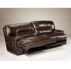 Exhiliration Chocolate Leather Match 2-Seat Reclining Sofa, Ashley, Exhilaration $1242