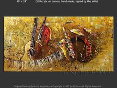 """The Golden Sax"" - Original Music Art by Lena Karpinsky, http://www.artbylena.com/original-painting/21040/the-golden-sax.html"