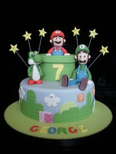Super Mario Cake with Luigi & Yoshi by Cakes-by-Louise, via Flickr