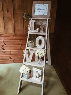 wedding rustic ladder with LOVE LED letters, personalised welcome sign and acces. wedding rustic ladder with LOVE LED letters, personalised welcome sign and accessories. Gazebo Wedding Decorations, Wedding Props, Wedding Hire, Chapel Wedding, Rustic Wedding, Our Wedding, Wedding Signs, Wedding Ideas, Vintage Country Weddings
