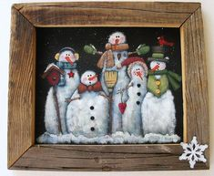 Tole Painting Pattern, Glacier Men or Snowmen, Group of Snowmen, White Snowmen, Instructional Pattern, Five White Snowmen, Winter Scene, DYI