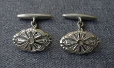 Antique Jeweled Clear Crystal Filigree Silver Cufflinks