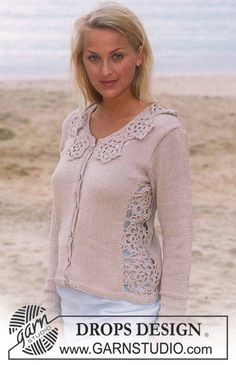 DROPS jacket in Muskat with inlaid flower squares in side and collar of crochet flowers Free pattern by DROPS Design.