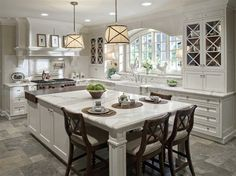transitional kitchen with traditional pendant lights
