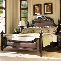 "Harbour Point Bed (Royal Kahala Collection) by Tommy Bahama. ""Finding inspiration in the British Colonial Period, the headboard offeres a removable carved pediment, taking on a more transitional feel. The padded woven rattan is a Tommy Bahama signature. Tommy Bahama, Bedroom Furniture, Home Furniture, Furniture Movers, Furniture Vintage, Luxury Furniture, Furniture Sets, British Colonial Decor, Colonial Home Decor"