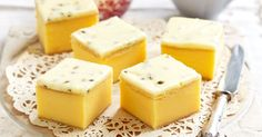 Old-fashioned vanilla slice: - - - Satisfy your sweet tooth with this passionfruit, vanilla slice. Fudge Caramel, Custard Slice, Vanilla Custard, No Bake Slices, Coconut Slice, Cheesecake Toppings, Buttery Biscuits, Anzac Biscuits, Sweet Recipes