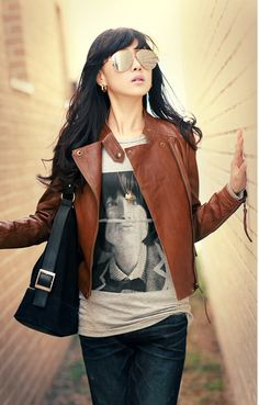Women's petite brown leather jacket