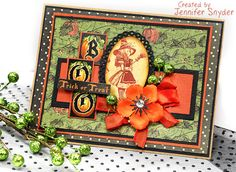 Scrap Escape - Halloween card made using JustRite Oval Die and Graphic 45 - Halloween in Wonderland collection