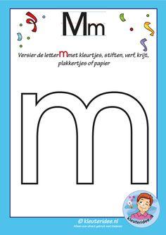 Pakket over de letter m blad 5, versier de m, kleuteridee, free printable