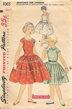 Simplicity 1065 Sewing Pattern, 1950s Girls Drop Waist Dress, offered on Etsy by GrandmaMadeWithLove