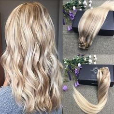 Full Shine 9 Pcs Remy Hair Blonde Highlighted Balayage Clip In Extensions Shop on:www.fullshine.net WhatsApp:008613287879561(wholesale price)