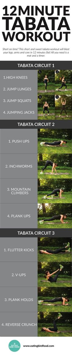 12 Minute Tabata Workout that works your legs, arms and core! Tried this...about died but great workout! #Workout