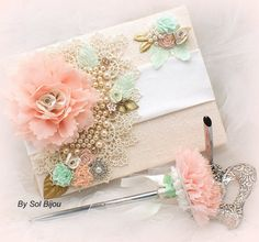 Wedding Guest Book and Pen Set Signature Book in Ivory, Nude, Blush, Light Coral, Gold, Green and Peach with Pearls and Lace