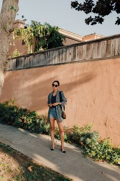 Tibi blazer + denim shorts & Chanel sling backs, Aimee Song, Song of Style Blazer And Shorts, Blazer Outfits, Denim Shorts, Plaid Blazer, Purple Blazers, Purple T Shirts, Song Of Style, Sincerely Jules, Aimee Song