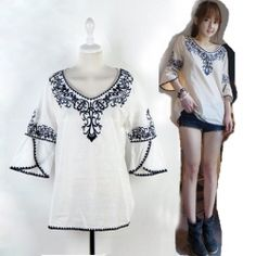 $10.78 Ethnic Style Blue and White Porcelain Patterns Cotton T-Shirt For Women