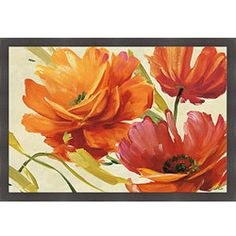 Artist: Lisa Audit Title: Flamboyant III Product type: Framed Print Style: Contemporary Format: Horizontal Subject: Floral Frame: Square, dark mahogany with a wood grain feel Image dimensions: 24 inch