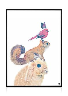 Eläimet printti juliste lastenhuone