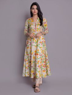 Beige Yellow Handloom Cotton Silk Kurta with Pants- Set of 2 Salwar Designs, Printed Kurti Designs, Silk Kurti Designs, Kurti Designs Party Wear, Kurta Designs Women, Designs For Dresses, Dress Neck Designs, Blouse Designs, Silk Dress Design