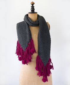 $23 right now on the sale section of my page! Originally  $92 Snag it while you can!  Need something a little special to brighten up your winter wardrobe? Add this sweet scarf with poms and fringe in vivid magenta. Purchase with purpose