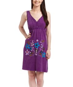 Look at this Royal Handicrafts Purple Floral Empire-Waist Dress on #zulily today!