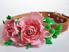Floral Dog Collar, Pink Pet Wedding Accessory, Floral Collar,  Wedding idea, foamiran flowersPink rose,FREE SHIPPING WORLDWIDE