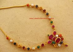 Gorgeous Navaratna Gold Necklace   Latest Indian Jewellery Designs
