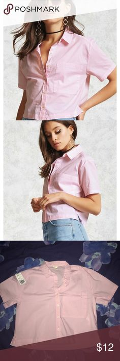 NWOT Forever 21 Boxy Pinstripe Shirt 🌸Make an offer🌸Forever 21 size medium boxy pinstripe shirt, never worn! I have the tags as shown but they are not attached as I was planning on wearing it! Bundle & get a discount! I'm willing to negotiate 💫 Forever 21 Tops