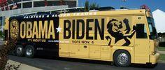 Campaign tour bus wrap.