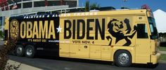 Campaign tour bus wrap.