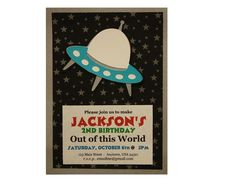Printed Space UFO Birthday Party Invitations - 10 Invites & 10 Matching Envelopes - Space Alien Theme Party - FREE PERSONALIZATION