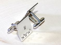 Personalized with your latitude longitude coordinates, these square sterling silver cuff links are perfect for preserving the memory of a space place or as a gift for weddings, groomsmen, Fathers Day, and birthdays. To personalize your cuff links, simply enter your coordinates in the check out notes or if you are unsure of the latitude and longitude, I can look up the coordinates using an address. The squares were sheared ¾ inch by ¾ inch from 18 gauge sterling silver and joined to pure…