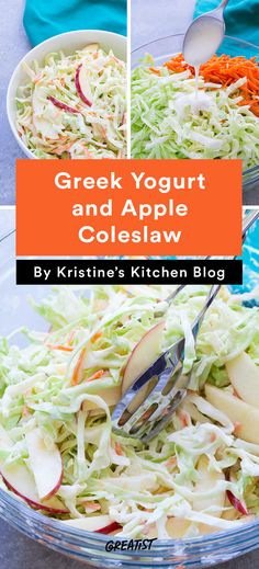 no mayo coleslaw: Yogurt and Apple Coleslaw