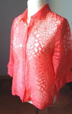Erin London blouse Tribal Top Stretch Sheer Sz M color salmon 3/4 sleeves #ErinLondon #Blouse #any