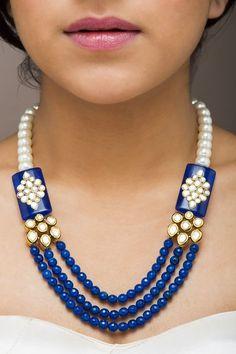 Bead Necklace With precious pearl gemstone India Jewelry, Bead Jewellery, Bead Earrings, Pearl Jewelry, Antique Jewelry, Beaded Jewelry, Jewelry Necklaces, Handmade Jewelry, Beaded Necklace
