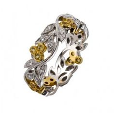 White Gold and Yellow Sapphire Floral Band (Ungar & Ungar)